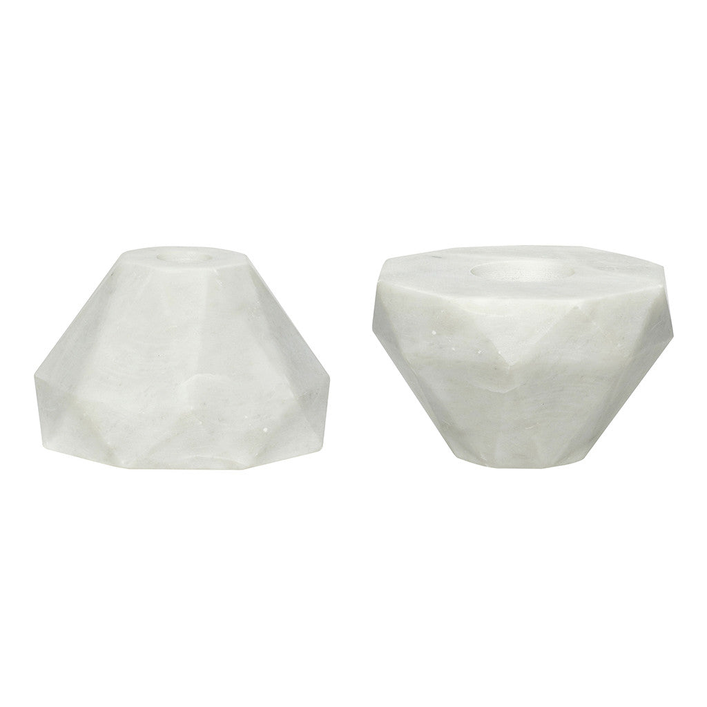 Marble Candlestick/Tealight Holder in White by Hubsch - Made Modern