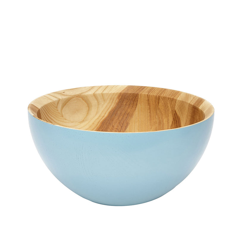 Wood Bowl in Turquoise by Hubsch - Made Modern