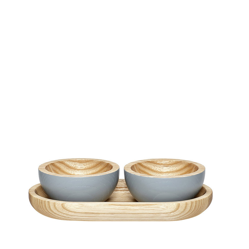 Two Bowls with Tray in Ash by Hubsch - Made Modern