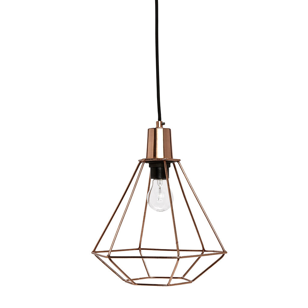 Large Cage Pendant Light in Copper by Hubsch - Made Modern