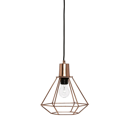 Small Cage Pendant Light in Copper by Hubsch - Made Modern