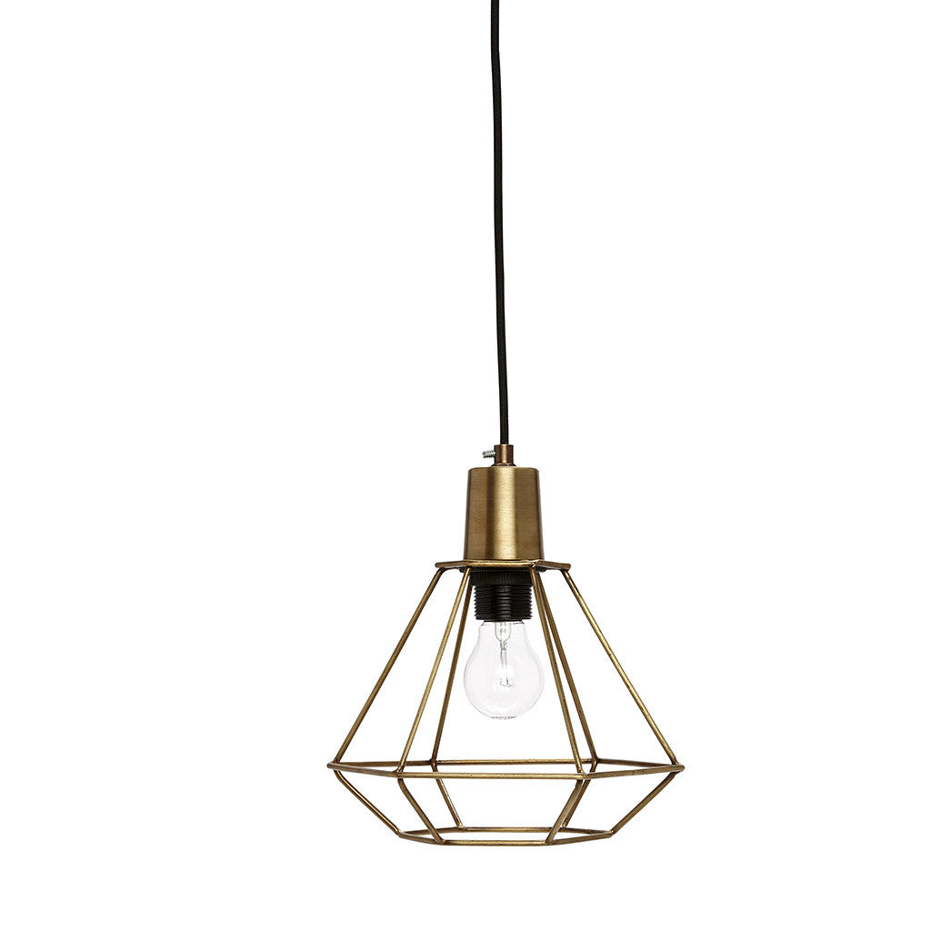 Small Cage Pendant Light in Brass by Hubsch - Made Modern