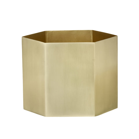 X-Large Hexagon Pot in Brass by Ferm Living - Made Modern - 1