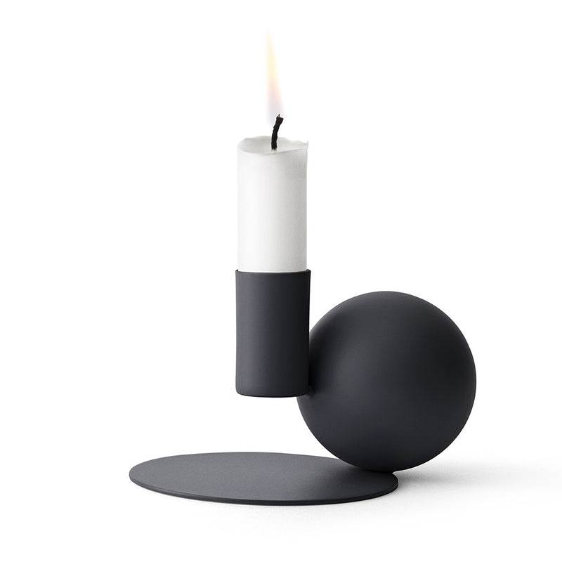 Optical Candle Holder in Black by Menu - Made Modern - 1