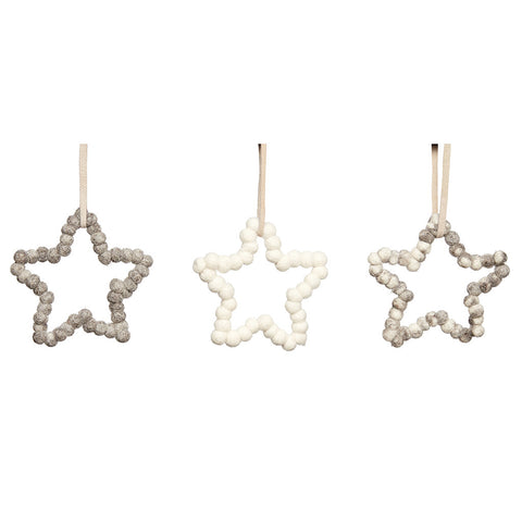 Christmas Felt Star Ornaments - Set of 3 - by Hubsch - Made Modern