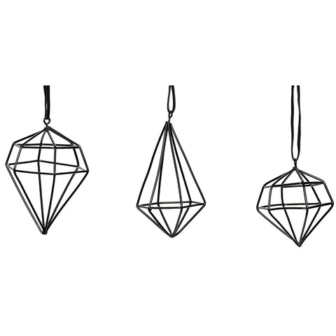 Black Diamond Ornaments - Set of 3 - by Hubsch - Made Modern