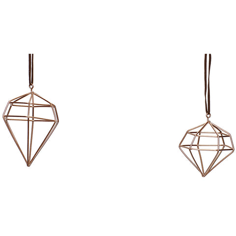 Copper Diamond Ornaments - Set of 2 - by Hubsch - Made Modern