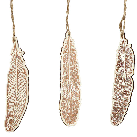 Natural Wood and Copper Detailed Feather Ornaments - Set of 3 - by Hubsch - Made Modern