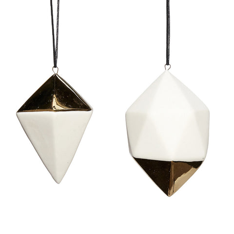 Porcelain Diamond Ornaments with Gold Detailing- Set of 2 - by Hubsch - Made Modern