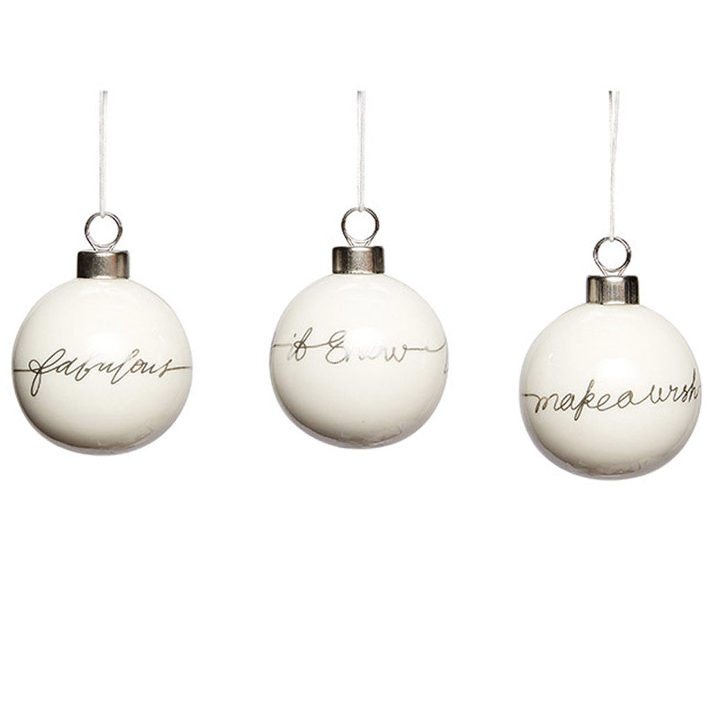 Christmas Ball Ornaments - Set of 3 - by Hubsch - Made Modern - 1