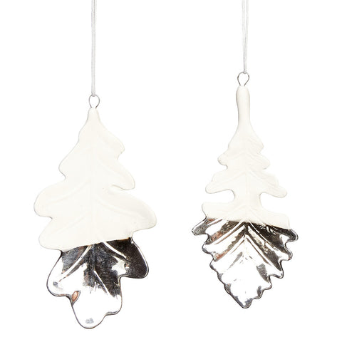 Porcelaine Leaf Ornaments with Silver Detailing- Set of 2 - by Hubsch - Made Modern
