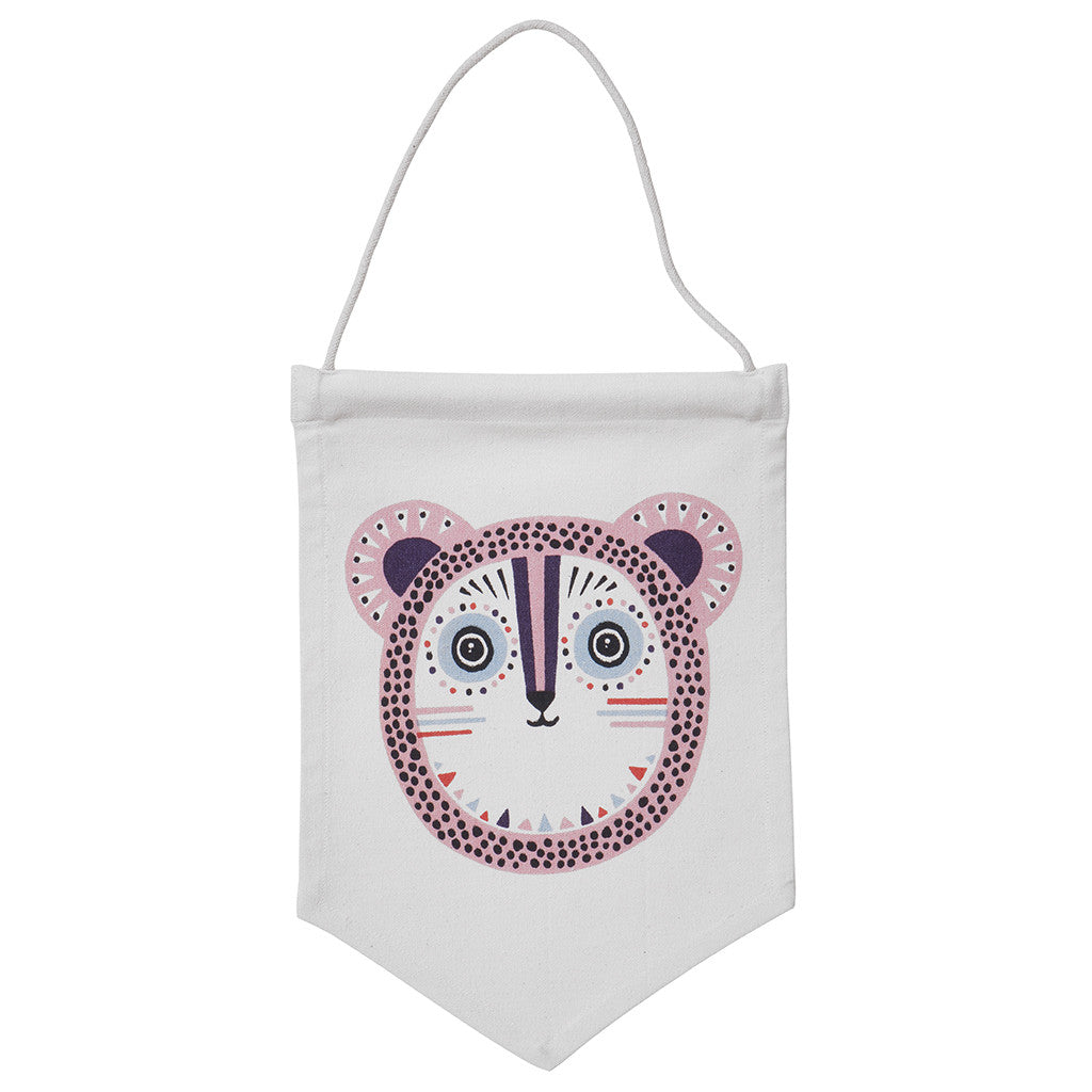 Billy Bear Wall Flag in Pink by Ferm Living - Made Modern