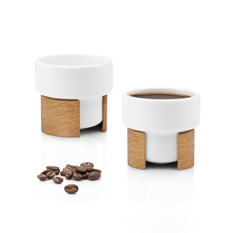 WARM Espresso Cup Set in Oak Veneer by Tonfisk - Made Modern - 1