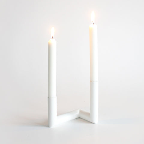 Pipeline Candle Holder in White by Nur - Made Modern - 1
