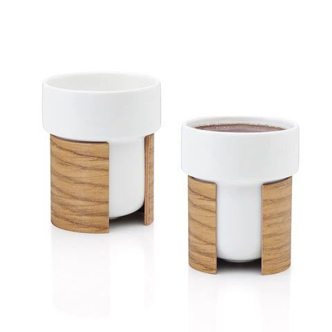 WARM Coffee and Tea Cup Set in Oak Veneer by Tonfisk - Made Modern - 1