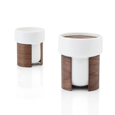 WARM Coffee and Tea Cup Set in Walnut Veneer by Tonfisk - Made Modern - 1