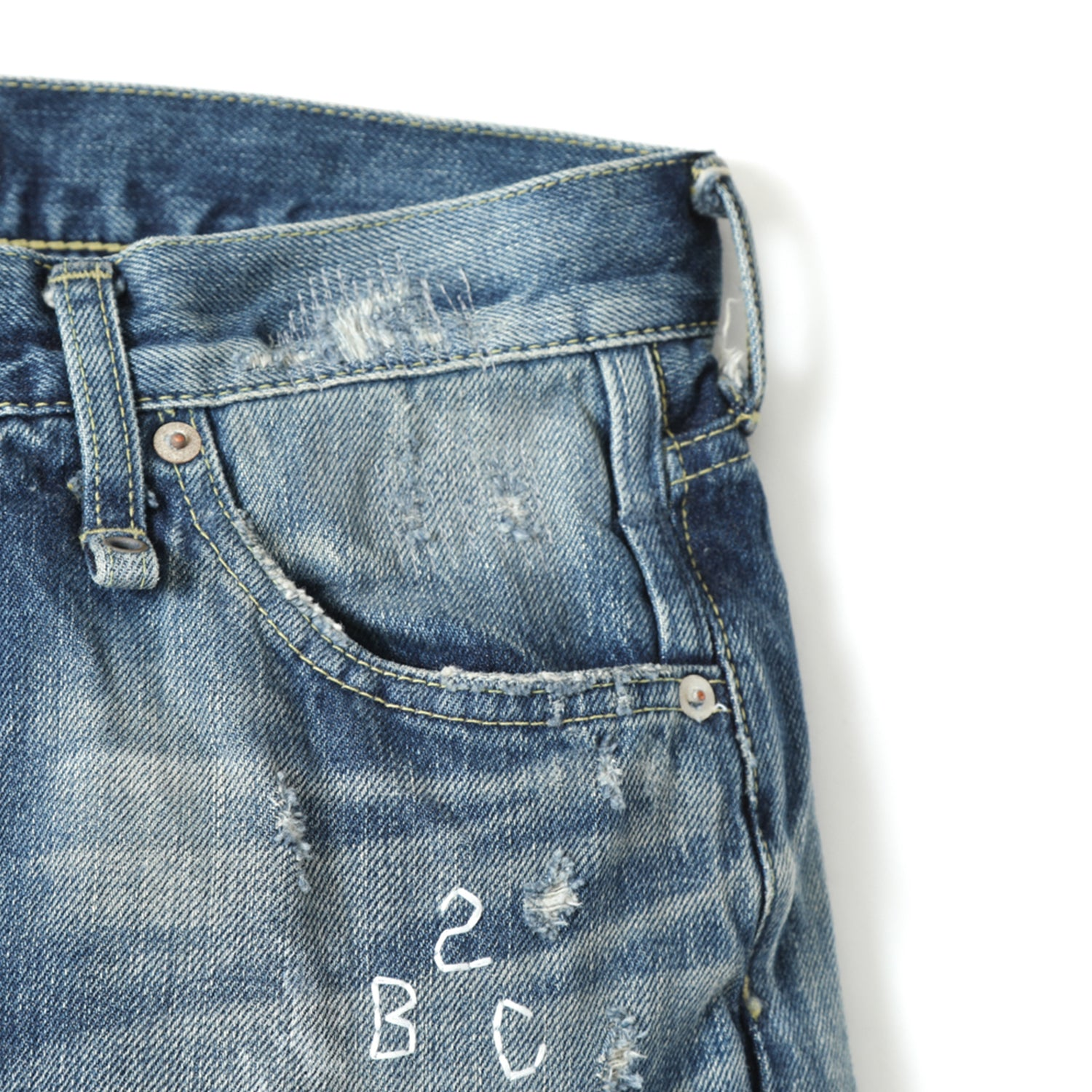 BBC X FDMTL SLIM FIT HARD DAMAGED DENIM