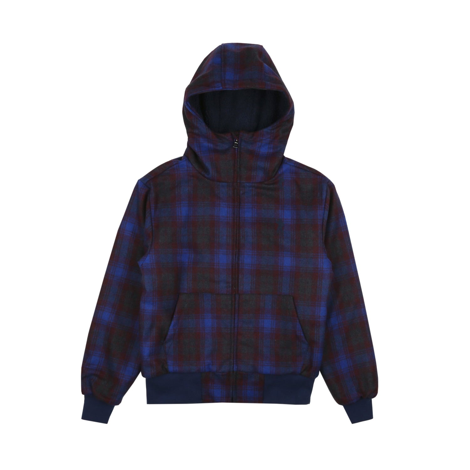 HEAVY WOOL CHECK FULL ZIP HOOD