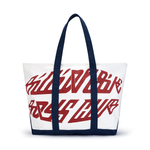 MULTI LOGO MEDIUM ZIP TOP CANVAS TOTE BAG