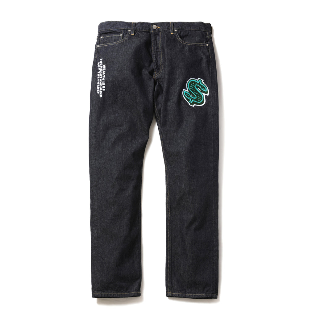 DOLLAR CHENILLE PATCH DENIM PANTS