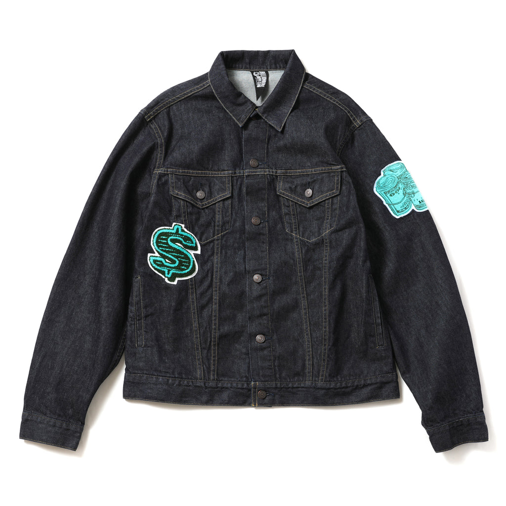 DOLLAR CHENILLE PATCH DENIM JACKET