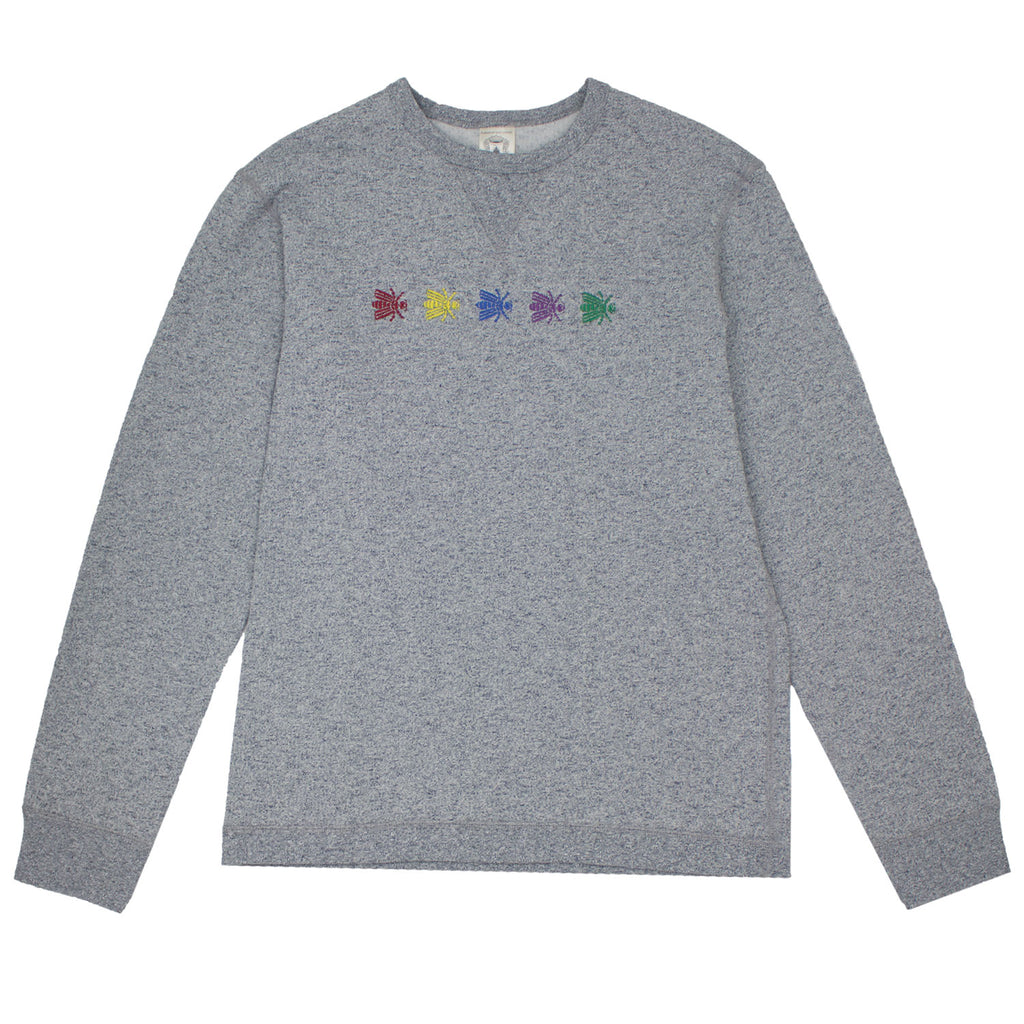 EMBROIDERED BEE LINE SPECKLED CREW
