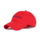 EMBROIDERED CURVED VISOR CAP / RED / OS
