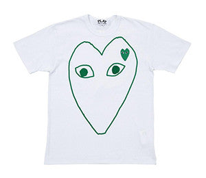 CDG Play PLAY Green Heart Outline T-Shirt