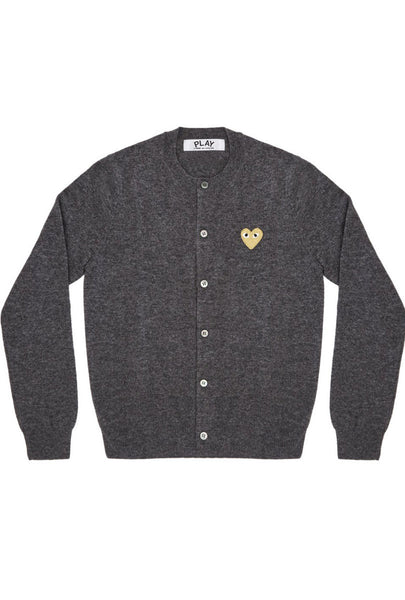 CDG PLAY Gold Heart Cardigan