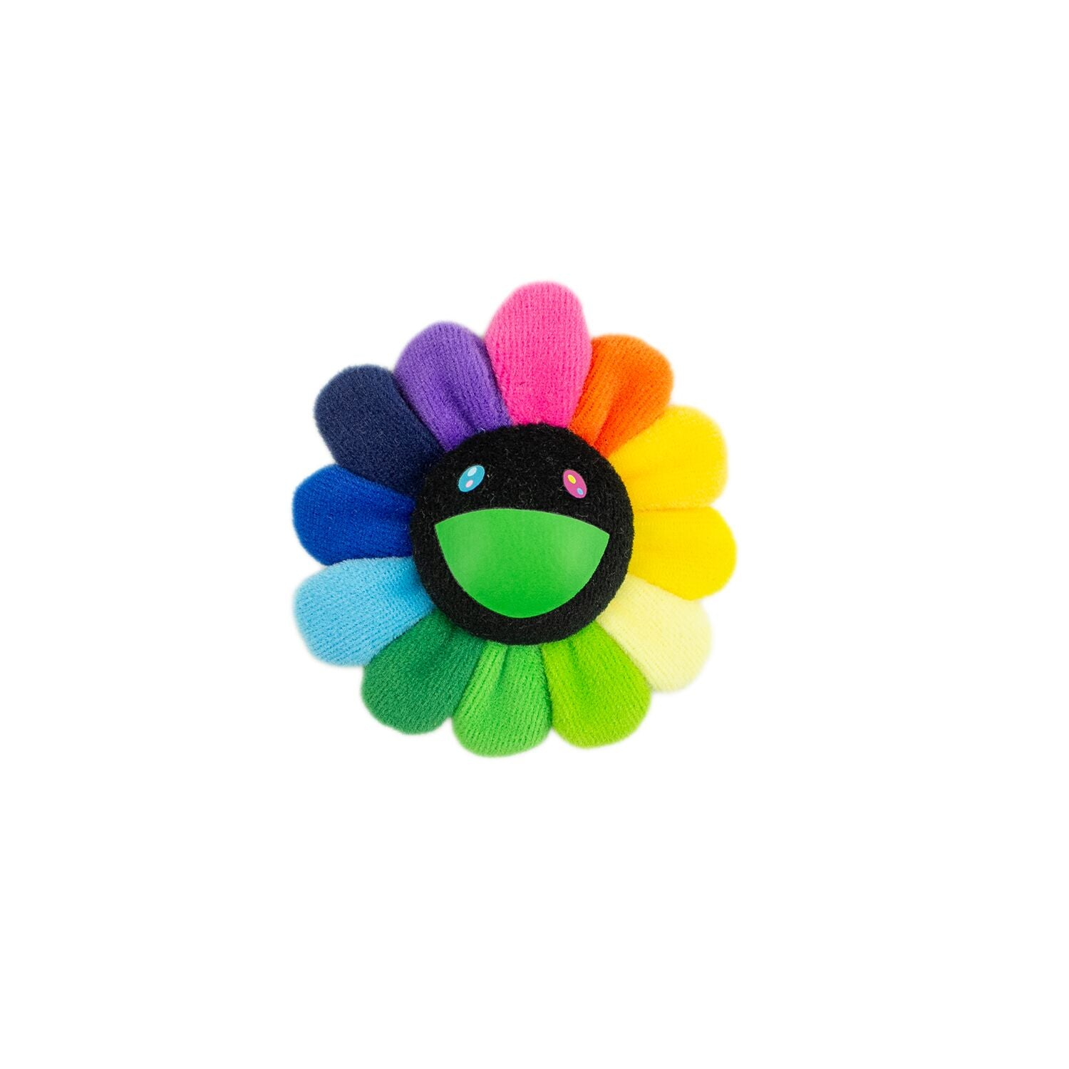 FLOWER PLUSH KEY CHAIN RAINBOW & BLACK
