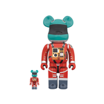 BE@RBRICK SPACE SUIT GREEN HELMET & ORANGE SUIT 100% & 400% SET