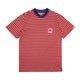 STRIPED POCKET T-SHIRT / RED / S