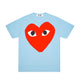 BIG RED HEART PASTELLE T-SHIRT / BLUE / S