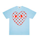 POLKA DOT HEART PASTELLE T-SHIRT / BLUE / S