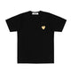 T-SHIRT WITH SMALL GOLD HEART / Black / S