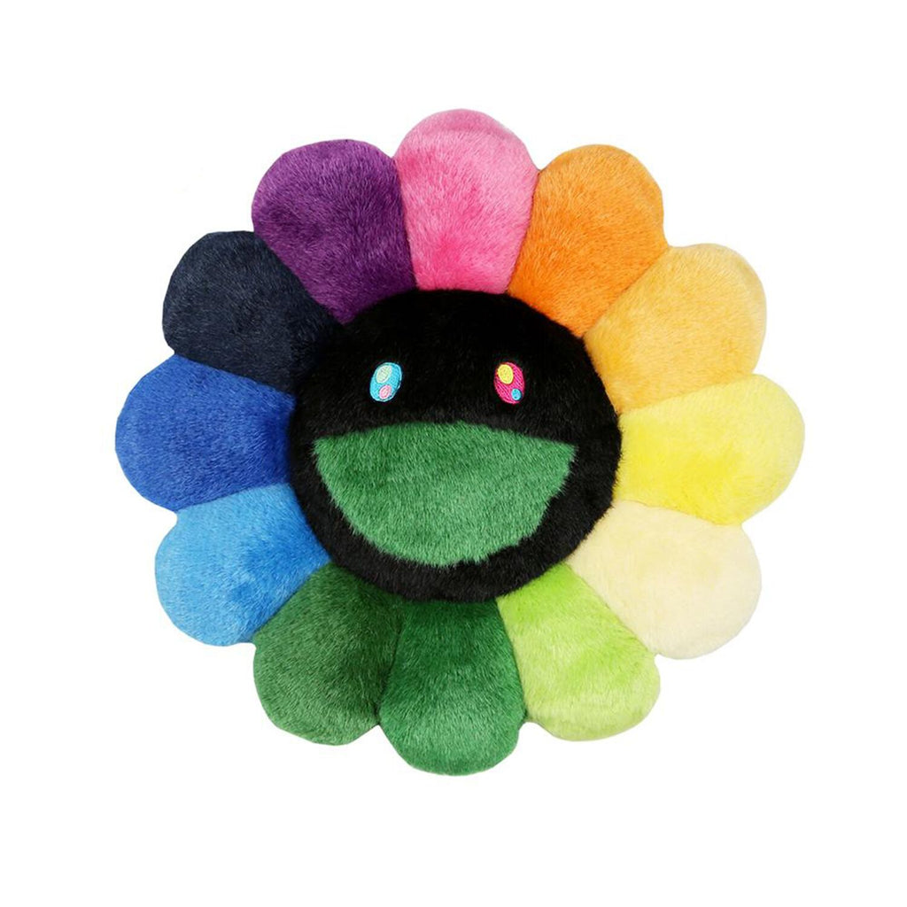 FLOWER CUSHION 60CM RAINBOW & BLACK