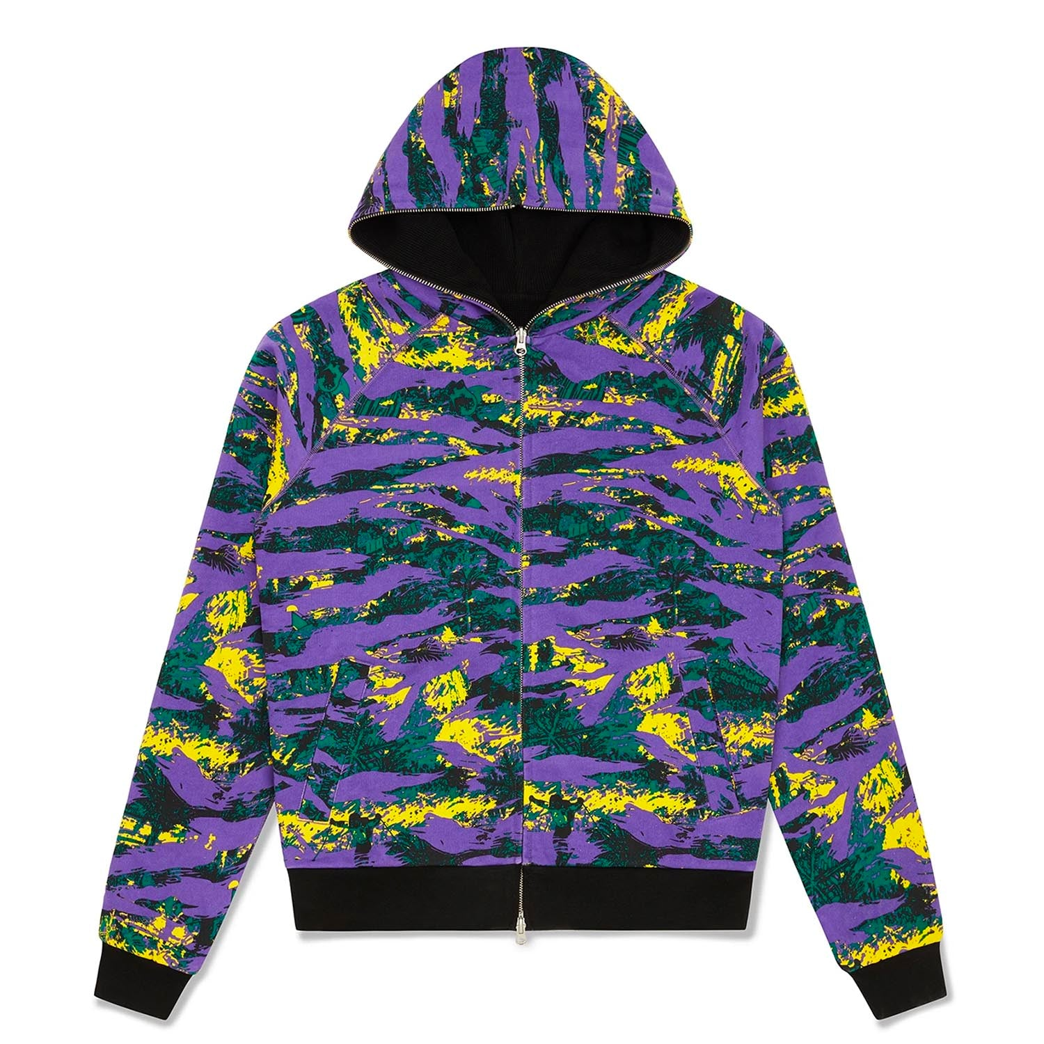 REVERSIBLE CAMO/WAFFLE ZIP THROUGH HOOD
