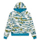 REVERSIBLE CAMO/WAFFLE ZIP THROUGH HOOD / TEAL / S
