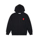 PLAY DOUBLE RED HEART FULL ZIP SWEATSHIRT / BLACK / S