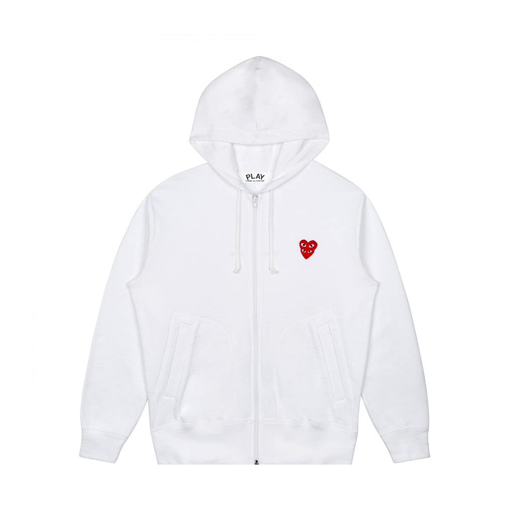 PLAY DOUBLE RED HEART FULL ZIP SWEATSHIRT