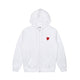 PLAY DOUBLE RED HEART FULL ZIP SWEATSHIRT / WHITE / S