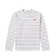 Colour Series Little Red Heart L/S Striped T-Shirt / GRAY / S