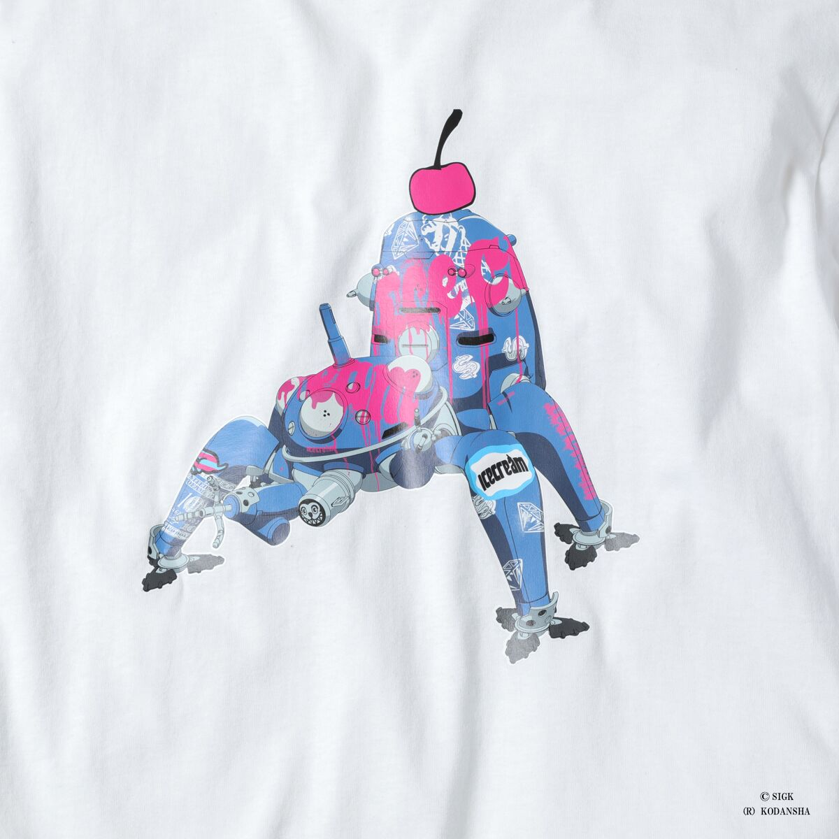 ICECREAM X GHOST IN THE SHELL TACHIKOMA POCKET T-SHIRT