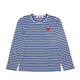 STRIPED L/S T-SHIRT WITH SMALL RED HEART / BLUE/WHITE / S