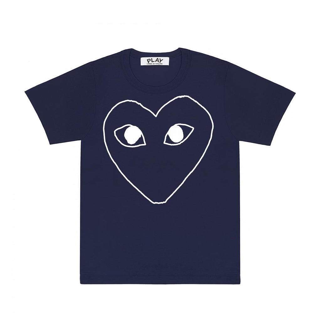 PLAY Navy Outline Heart T-Shirt