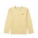 Colour Series Little Red Heart L/S Striped T-Shirt / OLIVE/WHITE / S