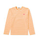 Colour Series Little Red Heart L/S Striped T-Shirt / ORANGE/WHITE / S