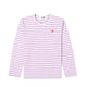 Colour Series Little Red Heart L/S Striped T-Shirt / PURPLE/WHITE / S
