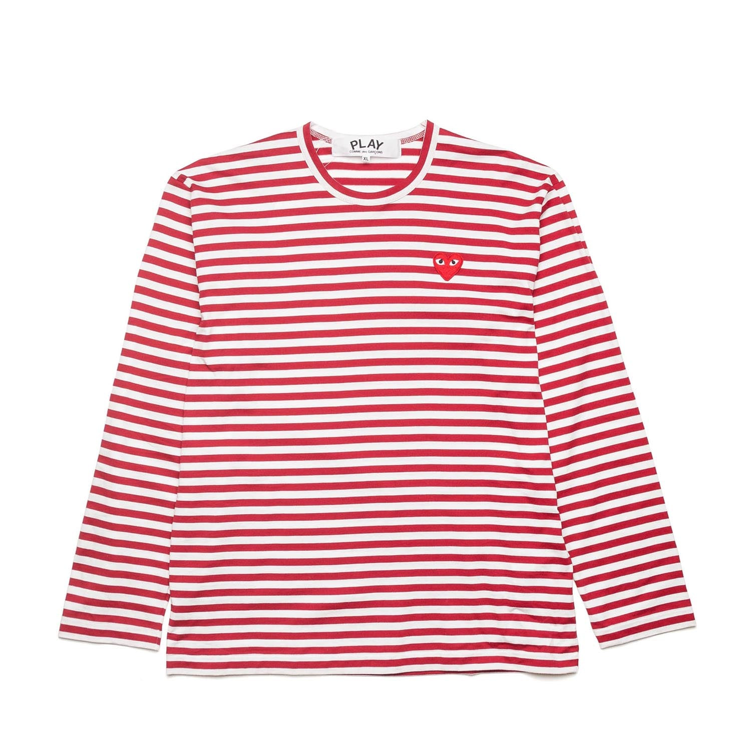 STRIPED L/S T-SHIRT WITH SMALL RED HEART
