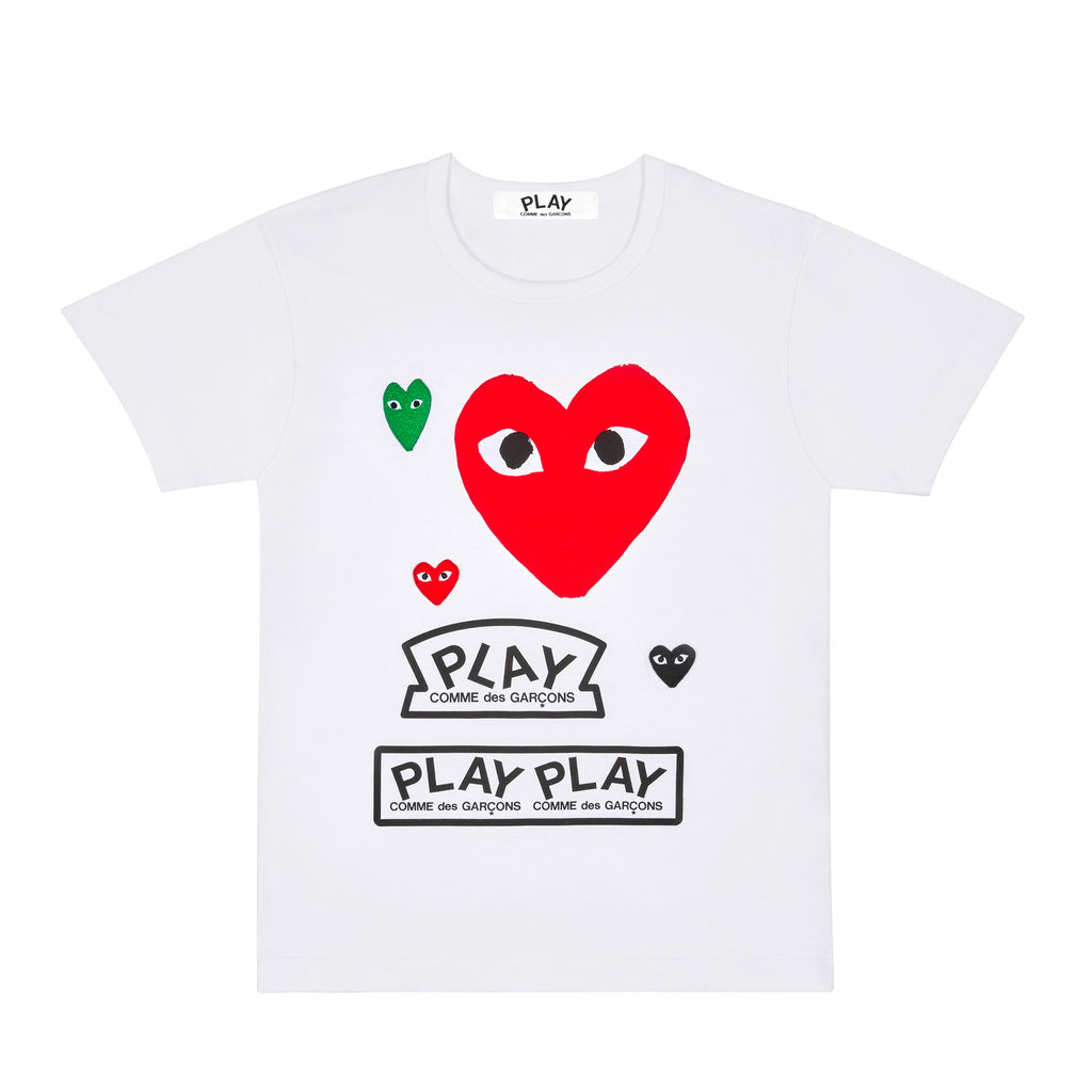 PLAY LOGO WITH RED HEART T-SHIRT
